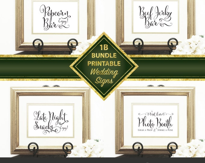 Wedding Signs Bundle 1B, Popcorn Bar, Photo Booth, Late Night Snacks, Beef Jerky Bar, Script Sign, Downloadable, Print it yourself.