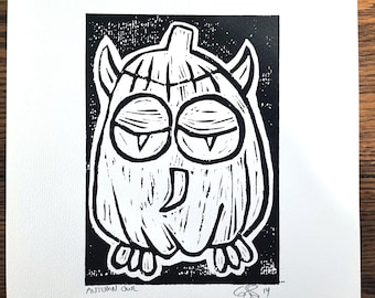 Autumn Owl, Black and White, Hand Rolled Linocut Print