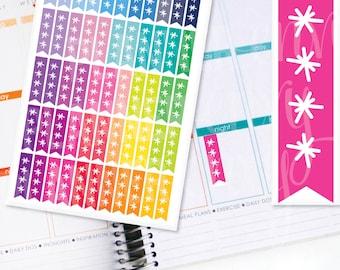Planner Stickers Erin Condren Life Planner (Eclp) - 55 Flag Star Checklist To Do Stickers (#7019)