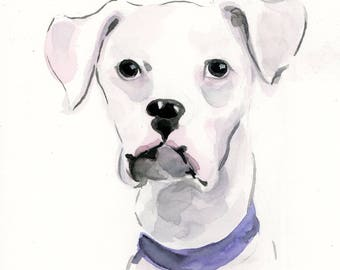 "5""x7"" Custom Pet Portrait Illustration - Watercolor Painting"