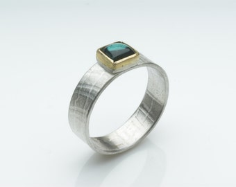 Blue Green Tourmaline and textured silver ring - October Birth Stone - Silver and Gold ring - birthday present - alternative wedding ring