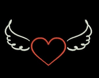 heart with wings machine embroidery design Instant download