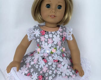 18 inch white pink and gray doll dress with lace cap sleeves and underskirt,made to fit 18 inch dolls such as American Girl dolls and others