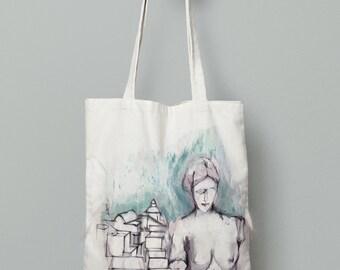 Aphrodite statue bag, Greece tote bag, summer tote bag, Venus de Milo, printed tote bag, Sketch art, Greek island gifts, Greek artwork gift