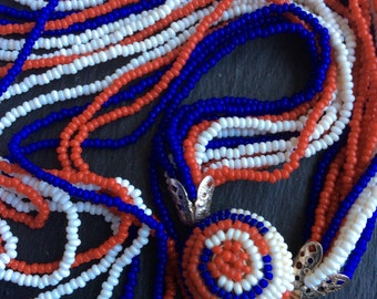 Vintage red white blue beaded necklace 1950s