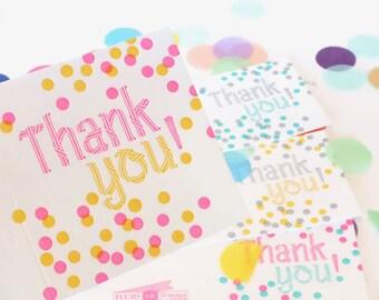 Carte de remerciement coloré, avec carte Merci, Confetti, heureux pour tous les âges, fluo excitant, jeu de carte de remerciement, remerciement, Merci