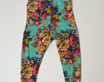 12-18 month Turquoise Floral Leggings