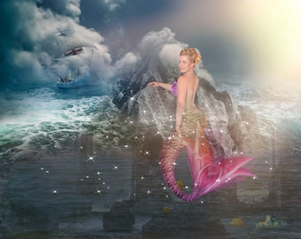 15 Mermaid Tail Overlays and Background