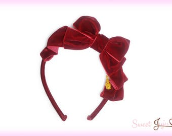 Royal Velveteen Ribbon Headbow - Classic Lolita Bow Headband with Gold Crown Charm - 4 Colors