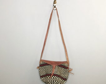 Vintage Sisal and Leather 80s Cross Body Bag / Straw Summer Purse