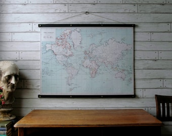 World Map 1915 / Vintage Pull Down Map Reproduction / Canvas Fabric Print / Wood Poster Hangers with Brass / Wall Hanging / Framed Art