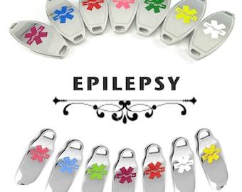 EPILEPSY Medical Alert ID Plate Pre-Engraved, for Stylish Beaded ID Bracelets
