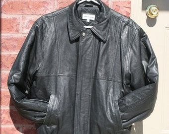 90's Black Leather Vintage Jacket Grunge  Insulated Size 36 Men's Small