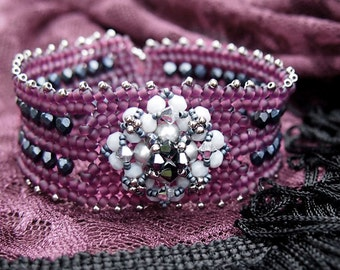 Herringbone stitch tutorial, beading pattern Thani's bracelet, beaded bracelet tutorial, Pdf