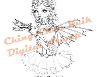 Steampunk Dragonfly - Instant Download / Steampunk Goggles Clock Insect Fantasy Fairy Girl Art by Ching-Chou Kuik