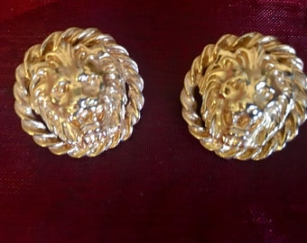 Vintage Gold Lion Rope Earrings