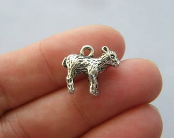 4 Lamb charms antique silver tone A685