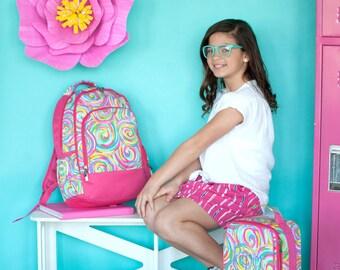 Monogrammed Backpack-- Book bag Monogrammed -- Lunch Box monogram-- -- Monogrammed Bookbag and Lunch Box-- Summer Sorbet