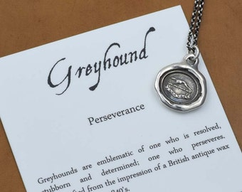 Greyhound Wax Seal Necklace - Perseverance - Pendant of a Dog - 155