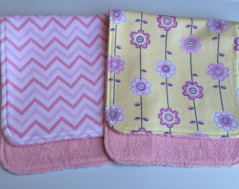 Pink Chevron and Button Flowers Burp Cloths