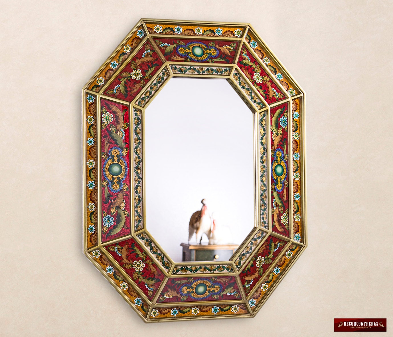 Red Large Decorative Wall Mirror Handmade Reverse Painted Art