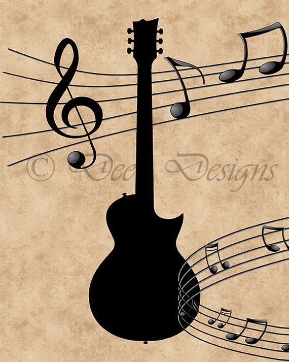 Guitar with Music Notes Printable Art Instant Download