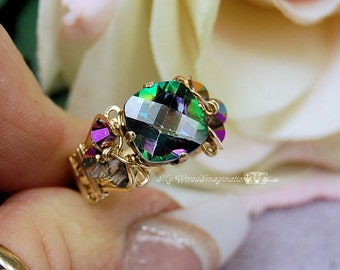 LAST ONE Rainbow Mystic Topaz, 10mm CHECKERBOARD Cushion Cut, Handmade Wire Wrapped Ring, Unique Engagement Ring, November Birthstone