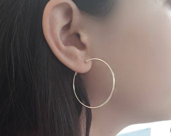Delicate 14K Gold Hoop Earrings, Thin Continuous Endless Hoop Earrings, Large-Medium-Small hoop Earrings, petite crole or, Beauty Gift,