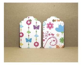 30 Handmade Butterfly and Floral Cardstock Paper Pattern Gift Tags,  3 1/4 x 2 1/8 inches