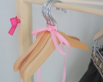 Hangers to fit 18 inch and American Girl®  Doll Clothes.  Wood Doll Clothes Hangers with no accessory clips.  Set of 4