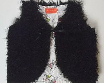 2T-3T Black Fuax Fur Vest