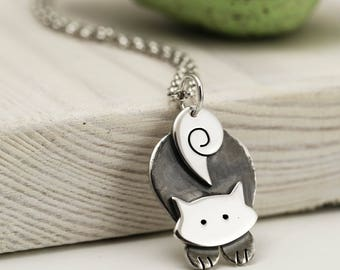 Pouncing Cat Necklace - Sterling Silver Cat Jewellery - Cat Lover Gift