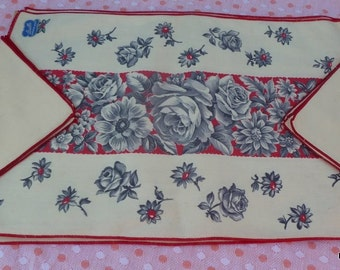 Vintage Floral Placemats and Napkins - Bucilla, Gray and Red Roses UNUSED SET