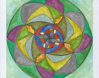 "Original and Unique Handmade Mandala,watercolor painting. ""La Preciosa"" 18x18cm  No:27"