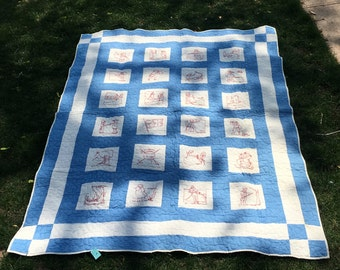 Antique handmade blue and white Colonial quilt