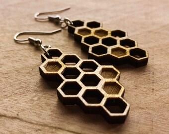 Wood Honeycomb Earrings- Laser Engraved