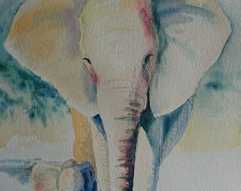 Mom + baby Elephants in vibrant Sun light, A3, watercolour, Contemporary art littlecl@mail.ru
