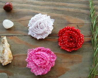 Pink, Red and White Polka Dot Flower Hair Clips, Little Girl Hair Clips, Flower Clips, Fabric Flowers, Girl Accessories, Flower Barrette