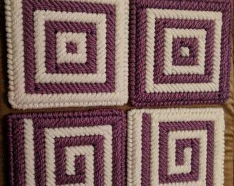 Purple and White Coasters