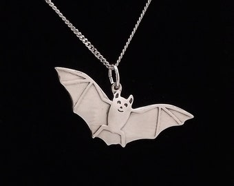 Bat Pendant, Silver Bat Necklace, Bat Jewellery, Bat Charm Jewellery, Silver Bat Pendant, Wildlife Pendant, Animal Jewellery, Silver Bat