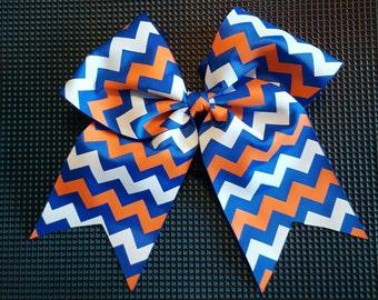 Royal Orange and White Chevron Bow
