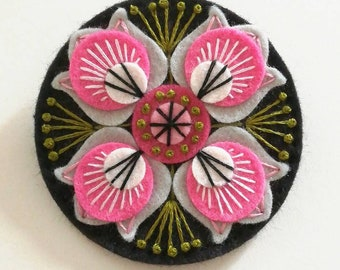 MARRAKECH felt brooch statement pin - hand embroidery - scandinavian style - unique - limited edition - pink black morroco tiles