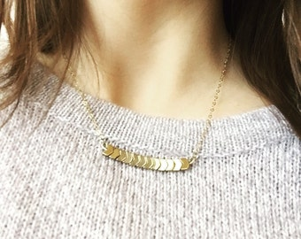 Gold Plated Hematite Chevron Delicate Everyday Skinny Bar Necklace, 14k Gold Plated Sterling Silver Necklace, Gold