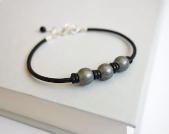 Black leather bracelet metal beads bracelet leather cuff bracelet for men for women