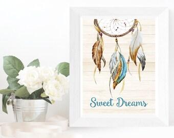 Dreamcatcher Art Print DIY Printable Wall Art Boho Dreamcatcher Print Sweet Dreams Print Baby Room Art Teen Room Art Dream Catcher Art