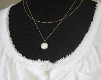 Necklace - Double Strand Necklace - Coin Pearl Necklace