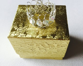 Silver Crochet Wire Crystal Ring