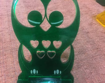 Owl Acrylic Cell Phone Stand Docking Station