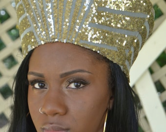 Gold Sequin Nefertiti Crown/buy 2 get 1 free