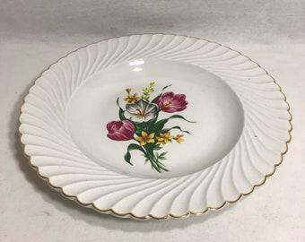 Ancien Plat LUNEVILLE KG Dessin Fleurs Made in France Vintage